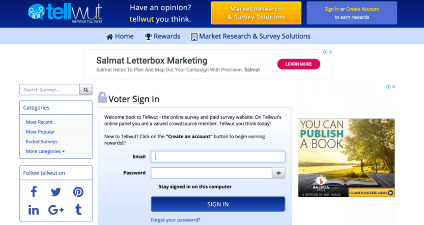 One of the legit high paying survey sites is Tellwut.